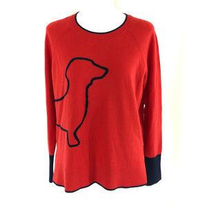 Boden Womens Sweater Dog Dachshund Crew Neck Wool